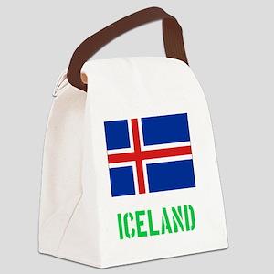 Iceland Flag Stencil Green Design Canvas Lunch Bag