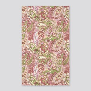 Baby Pink Watercolor Paisley 2 Area Rug