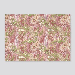 Baby Pink Watercolor Paisley 2 5'x7'Area Rug