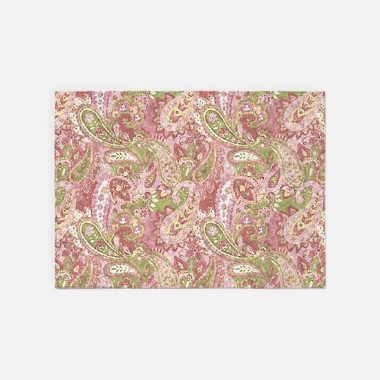 Baby Pink Watercolor Paisley 2 5'x7'Area Rug