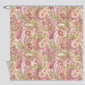 Baby Pink Watercolor Paisley 2 Shower Curtain
