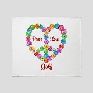 Golf Peace Love Throw Blanket