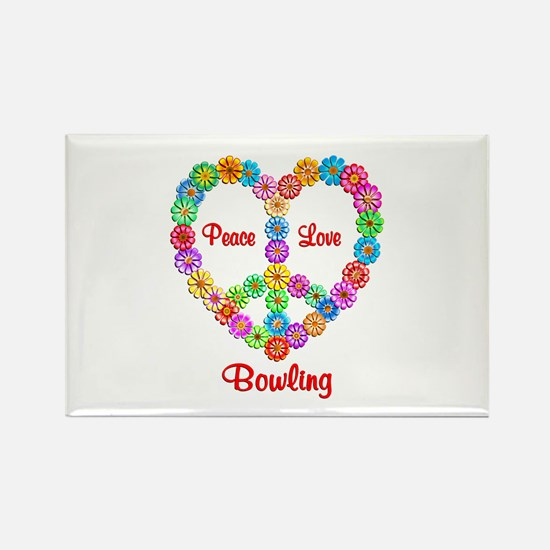 Bowling Peace Love Rectangle Magnet