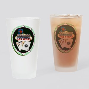 Las Vegas Welcome Sign Poker Chip Drinking Glass