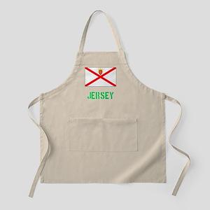 Jersey Flag Stencil Green Design Light Apron