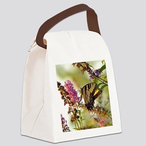 Butterfly on butterfly bush Canvas Lunch Bag