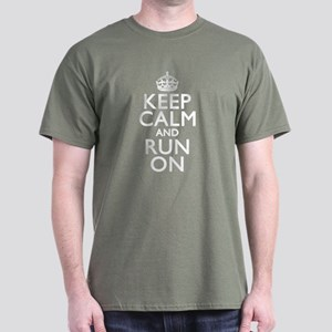 Keep Calm Run On Dark T-Shirt