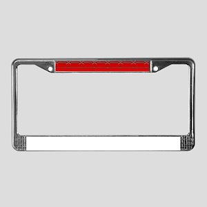 Red Steel License Plate Frame