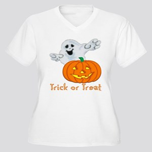 """Trick or Treat"" Women's Plus Size V-Neck T-Shirt"