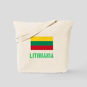 Lithuania Flag Stencil Green Design Tote Bag