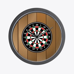 Darts Board On Wooden Background Wall Clock