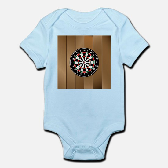 Darts Board On Wooden Background Body Suit