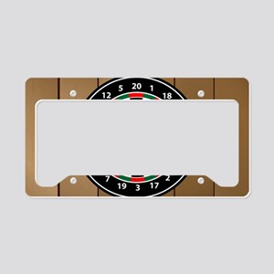 Darts Board On Wooden Background License Plate Hol