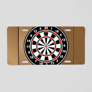 Darts Board On Wooden Background Aluminum License