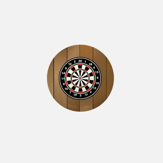 Darts Board On Wooden Background Mini Button