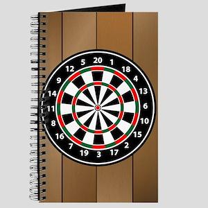 Darts Board On Wooden Background Journal