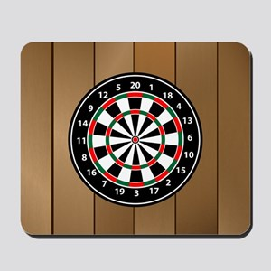 Darts Board On Wooden Background Mousepad