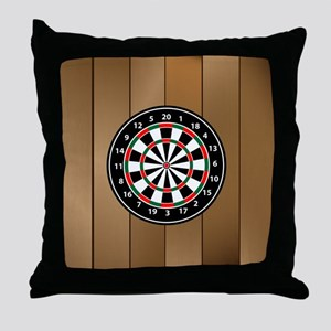 Darts Board On Wooden Background Throw Pillow