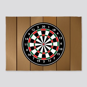 Darts Board On Wooden Background 5'x7'Area Rug