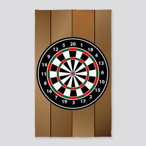 Darts Board On Wooden Background Area Rug