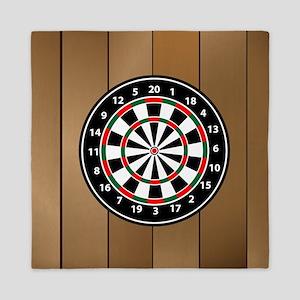 Darts Board On Wooden Background Queen Duvet