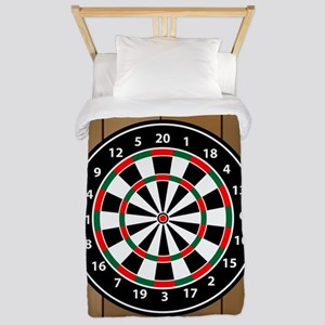 Darts Board On Wooden Background Twin Duvet