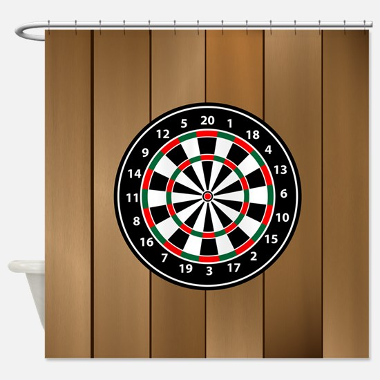 Darts Board On Wooden Background Shower Curtain