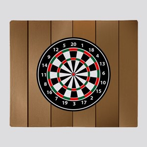 Darts Board On Wooden Background Throw Blanket