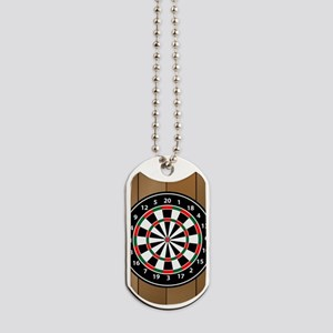 Darts Board On Wooden Background Dog Tags
