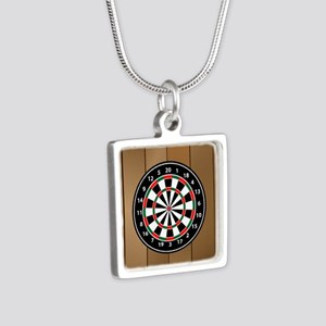 Darts Board On Wooden Background Necklaces
