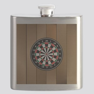 Darts Board On Wooden Background Flask