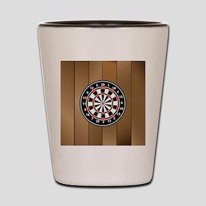 Darts Board On Wooden Background Shot Glass