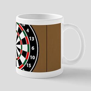 Darts Board On Wooden Background Mugs
