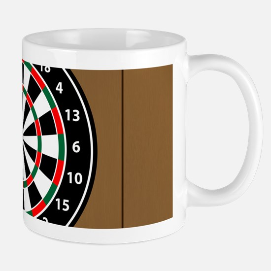 Darts Board On Wooden Background Mugs