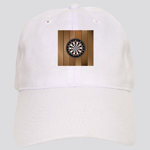 Darts Board On Wooden Background Baseball Cap