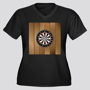 Darts Board On Wooden Background Plus Size T-Shirt