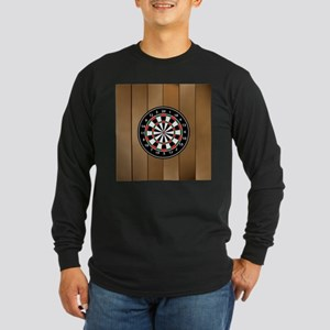 Darts Board On Wooden Background Long Sleeve T-Shi