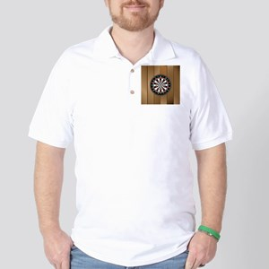 Darts Board On Wooden Background Golf Shirt