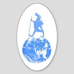 Gandhi on Gaia Oval Sticker
