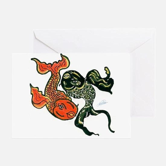 Yin Yang Koi Fish Greeting Card