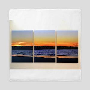 Ocean Sunrise Triptych Queen Duvet