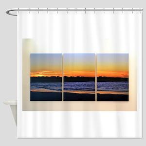 Ocean Sunrise Triptych Shower Curtain