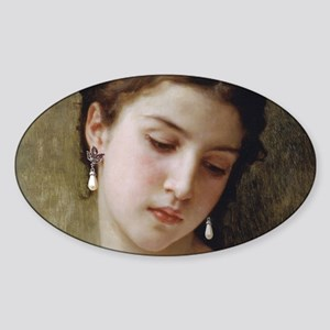 Woman with pearl earrings added Sticker (Oval)