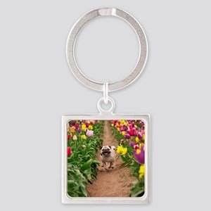 Pug in the Tulips Square Keychain