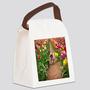 Pug in the Tulips Canvas Lunch Bag