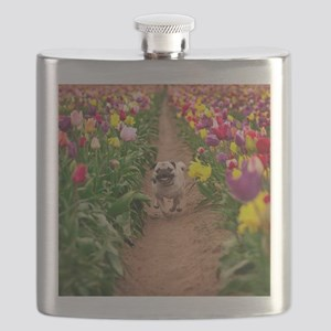 Pug in the Tulips Flask
