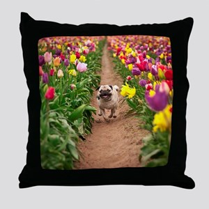 Pug in the Tulips Throw Pillow