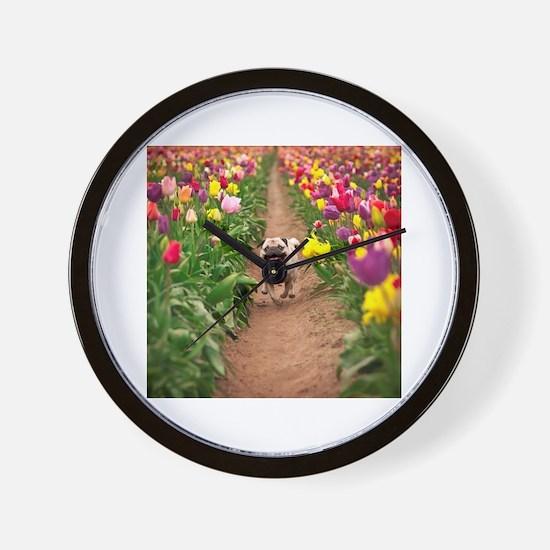 Pug in the Tulips Wall Clock