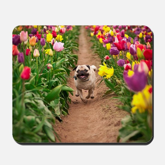 Pug in the Tulips Mousepad