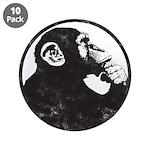 "Thoughtful Monkey 2 - Black 3.5"" Button (10 P"